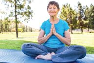 Elderly person practices mindfulness